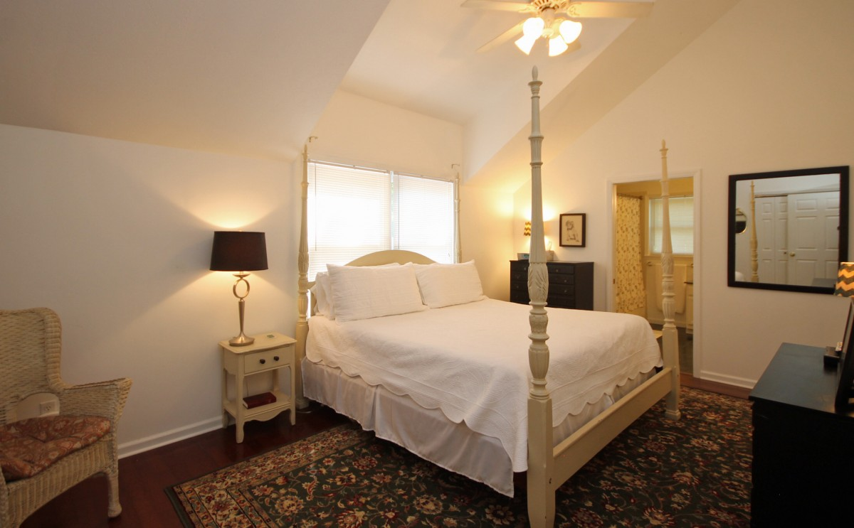 We hope you love this comfortable four-poster king bed as much as we do!The bathroom is accessible only through the master bedroom so please be aware of this before booking.