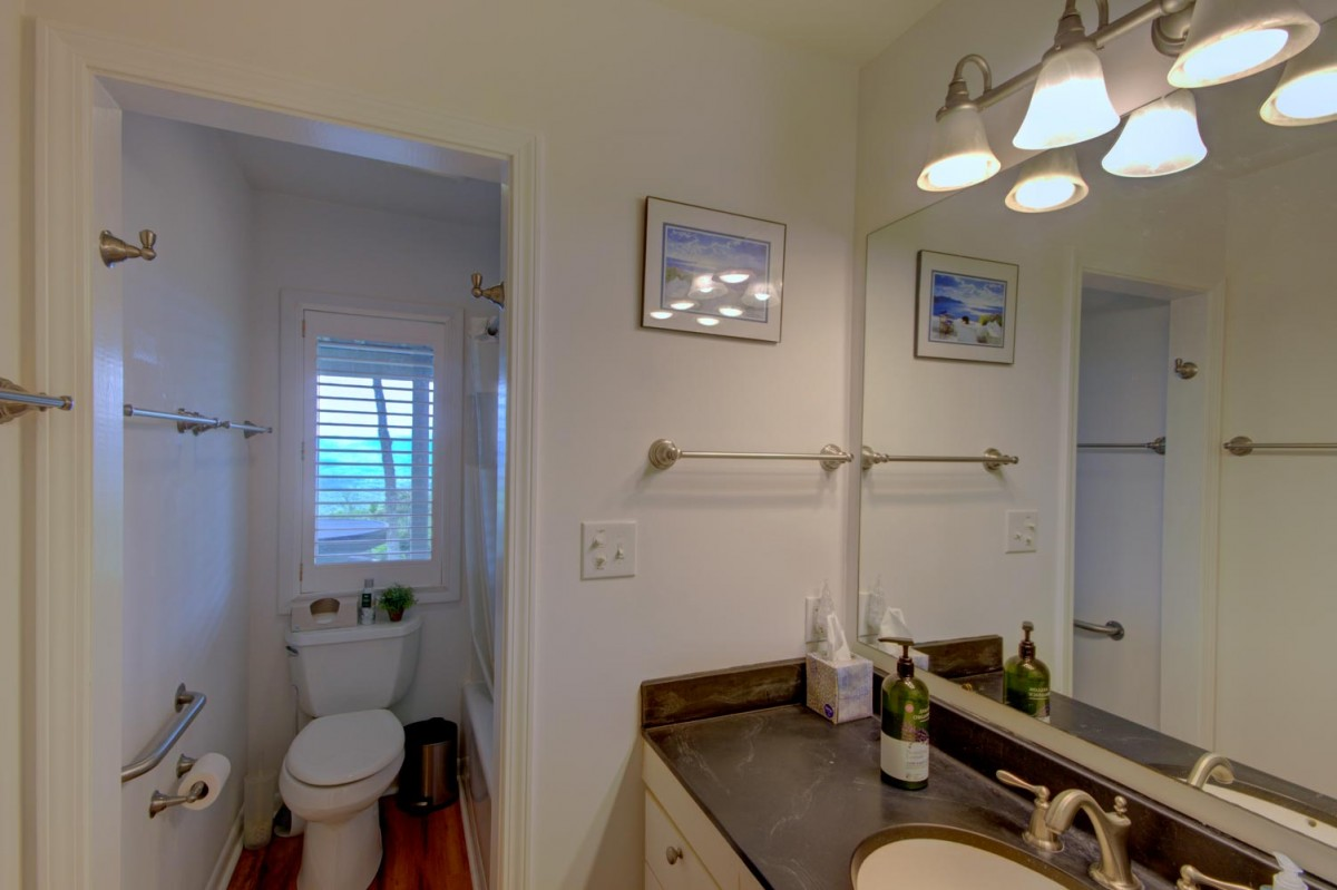 The lower bathroom has its own view window.