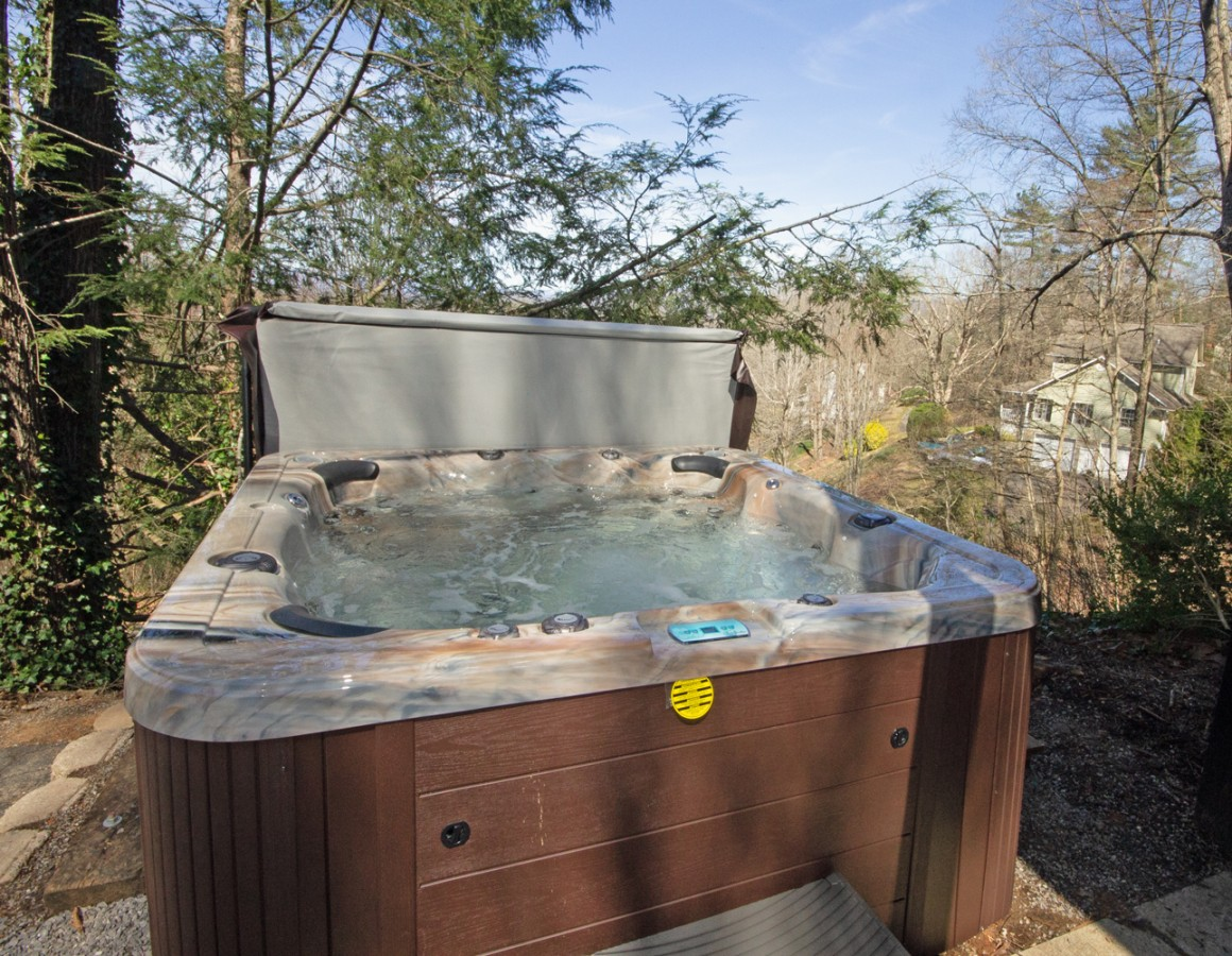 A brand new hot tub awaits.