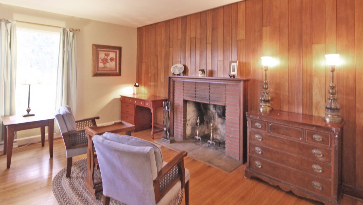 The fireplace is a great focal point and is a comfortable area to sit and read.