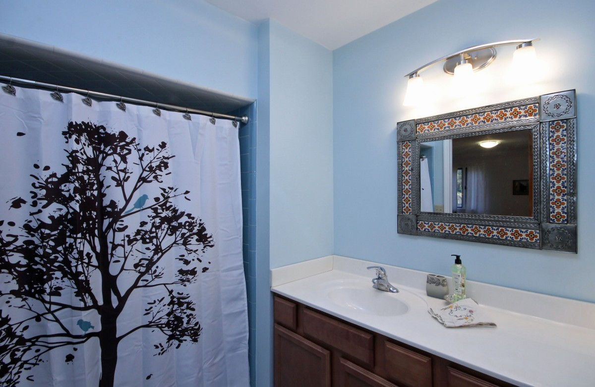 A nice view of the decorative shower curtain that graces the master bath.