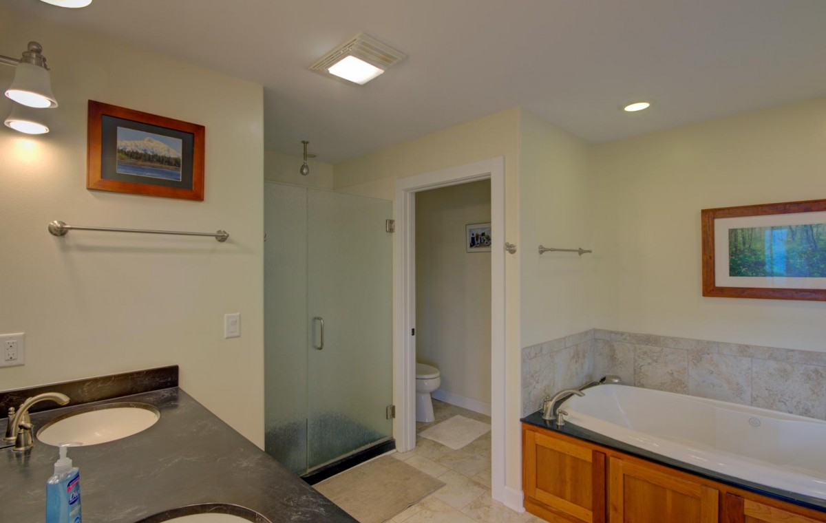 Dual vanities, beautiful shower, jet tub and private toilet enclosure in the master bath.