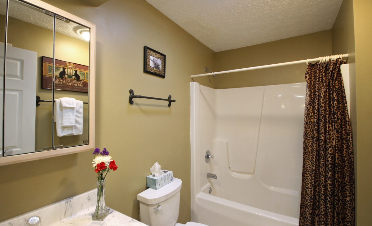 The guest bathroom serves the main part of the house.