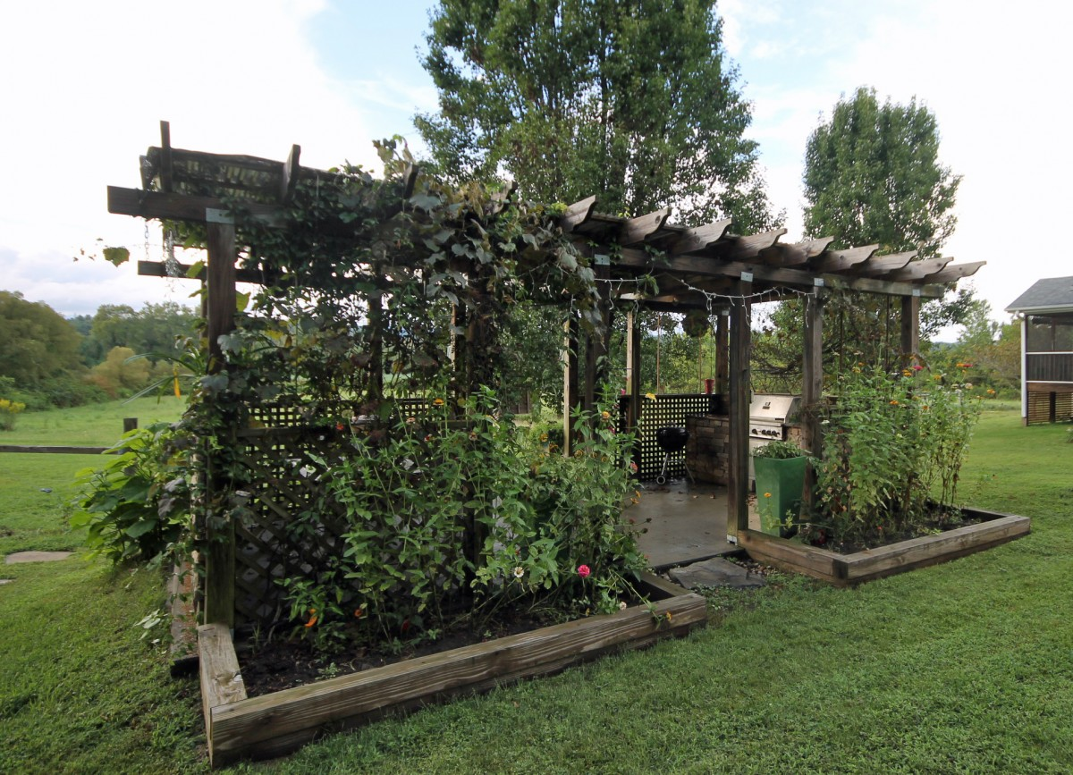 This lovely pergola comes complete with grape vines, grills and seating.