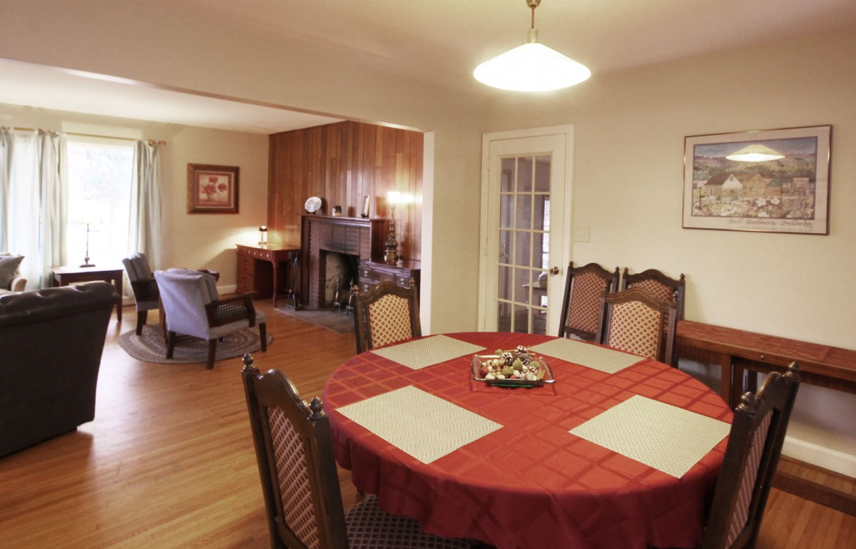 Dining area seats up to six guests and is open to the living area.