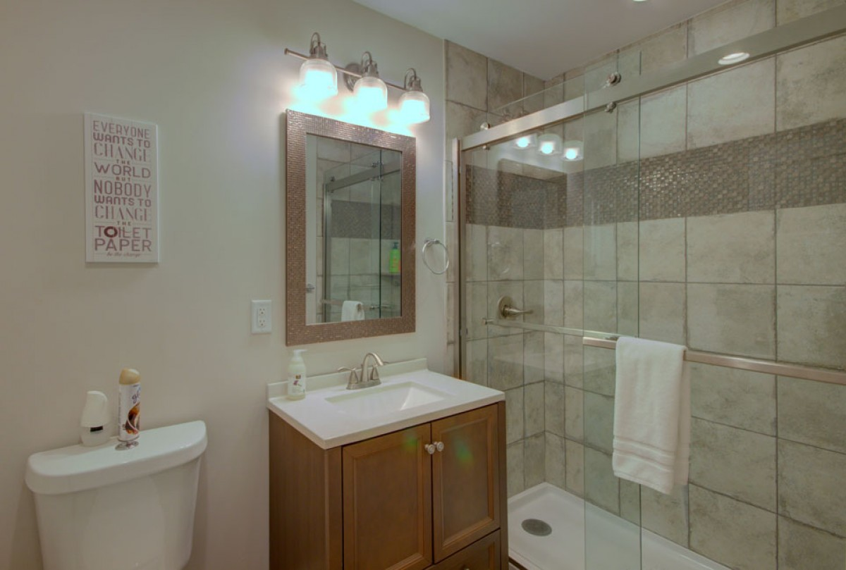 Downstairs bath with roomy shower