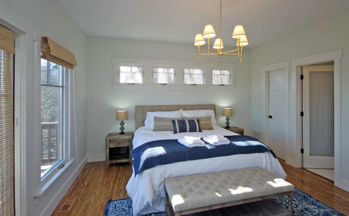 In this view of the master bedroom you can see the doorway to the bathroom on the right.