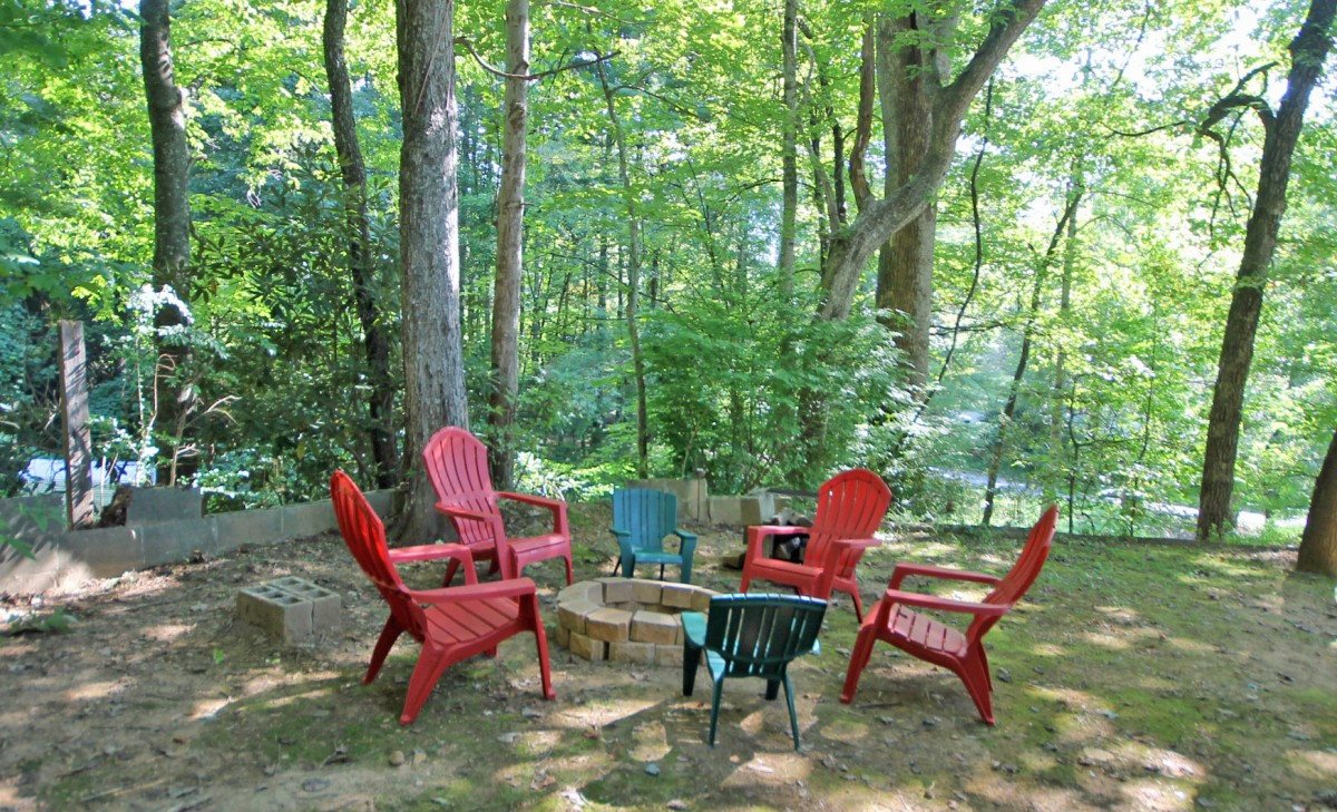 The fire pit is around back. We also have a secure storage shed back here, perfect for storing your bikes and gear.